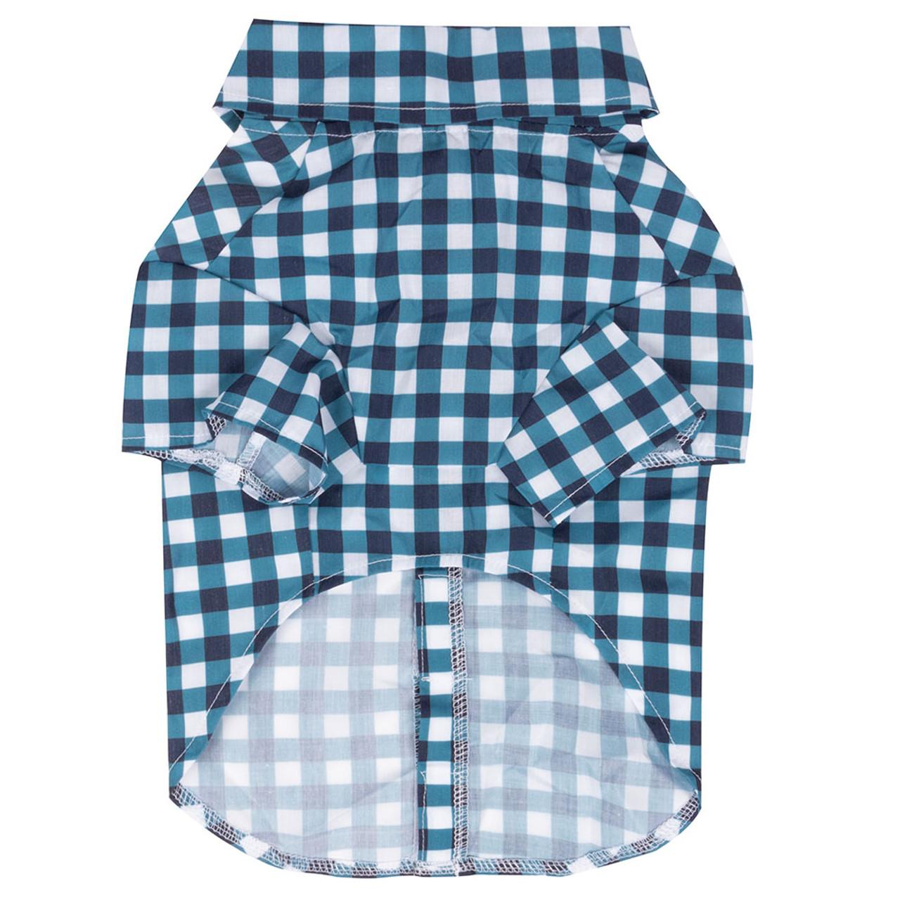 SimplyShe Dark Blue Gingham Bowtie Collar Dog T-Shirt - Back