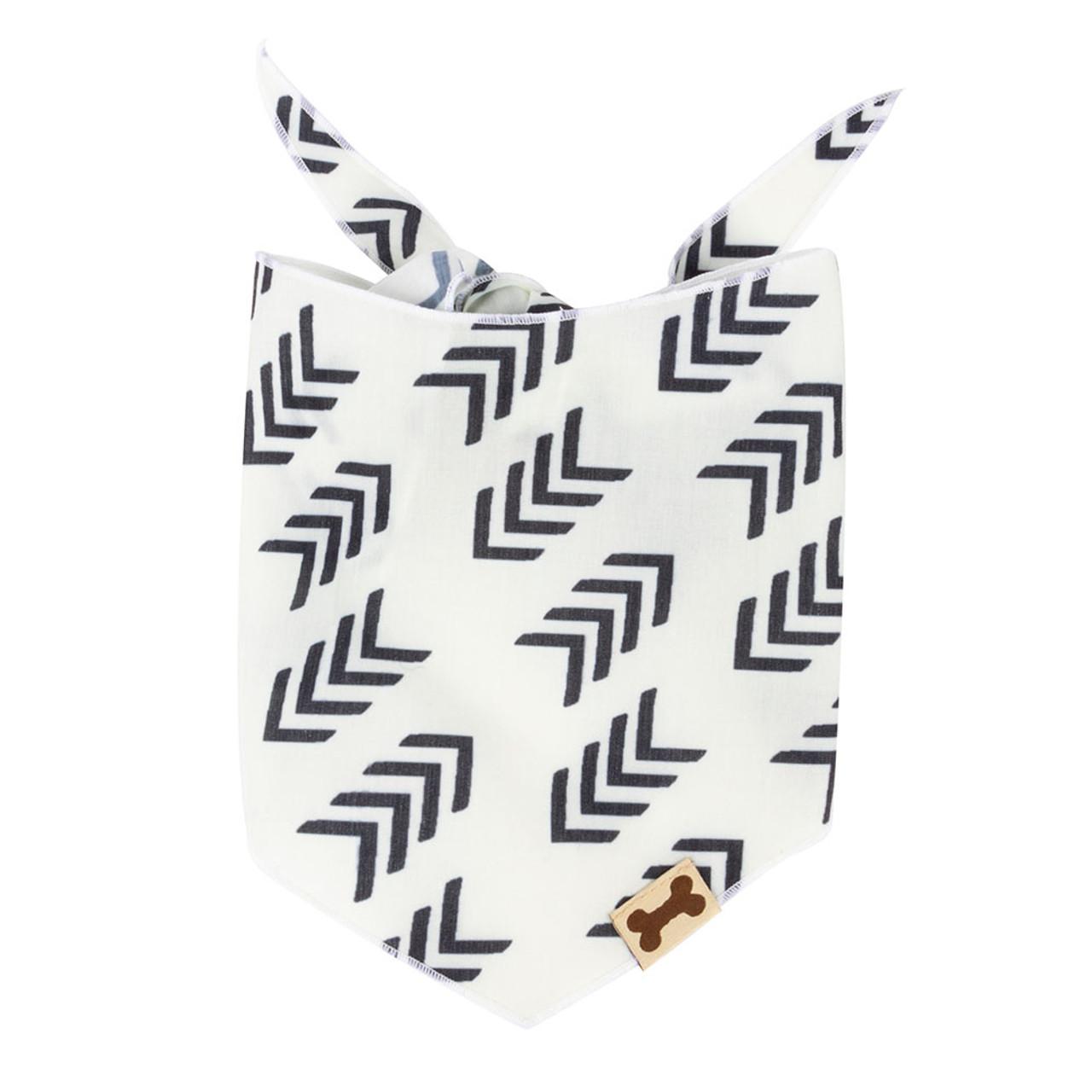SimplyShe White Flying V Print Dog Bandana - Front
