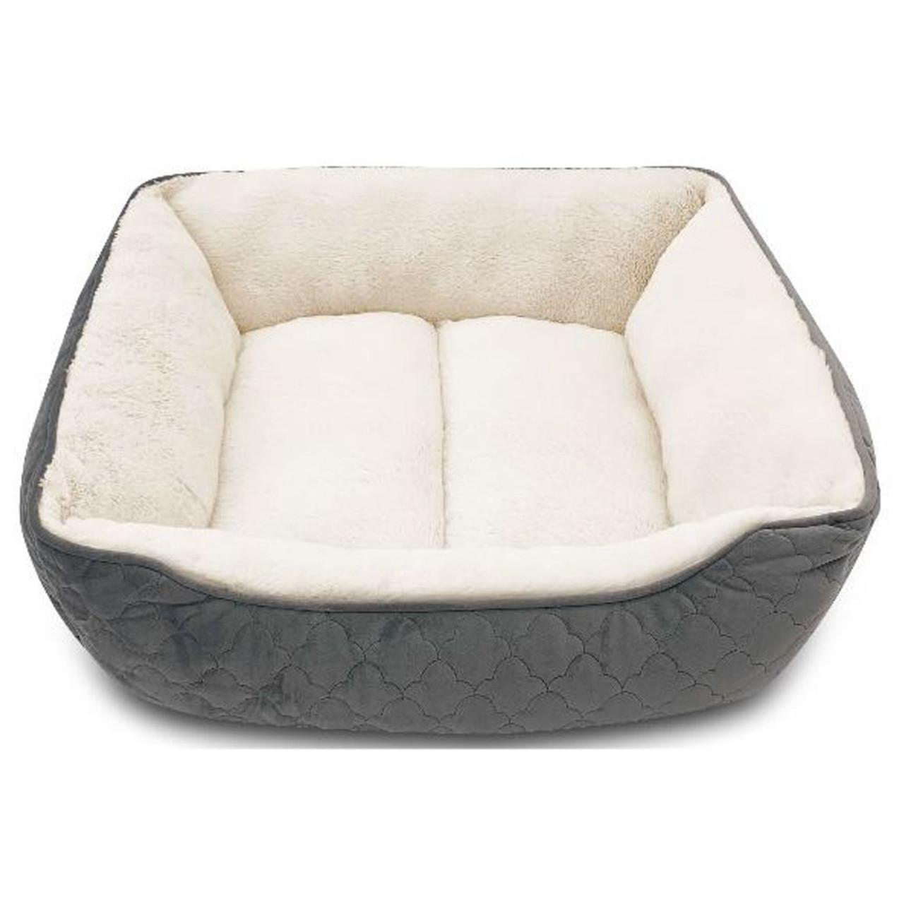 Pure Comfort Rectangular Cuddler Velvet Gray Dog Bed - Front