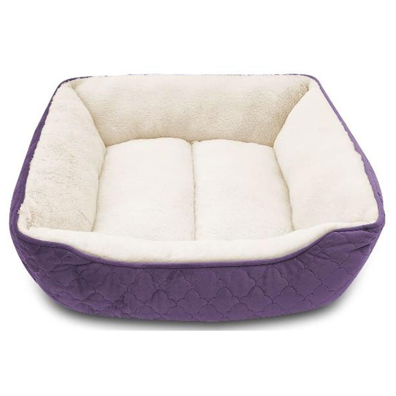 Pure Comfort Rectangular Cuddler Velvet Purple Dog Bed - Front