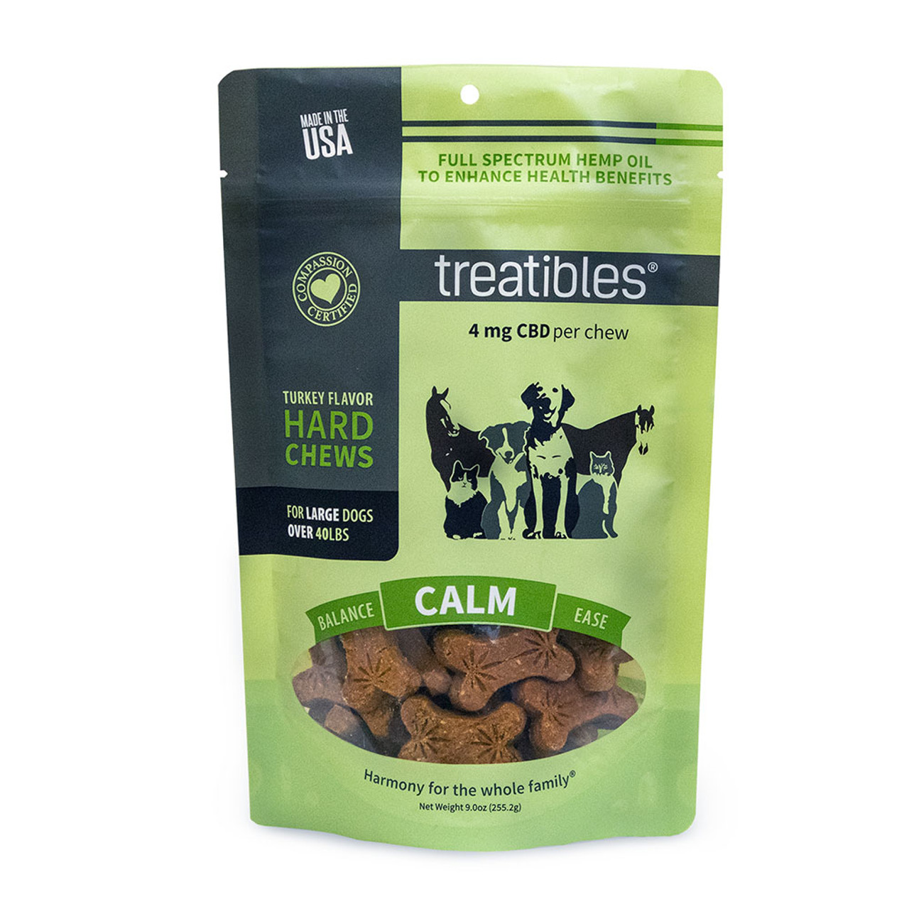Treatibles Calm Full Spectrum Hemp Oil Hard Chews for Large Dogs - Front