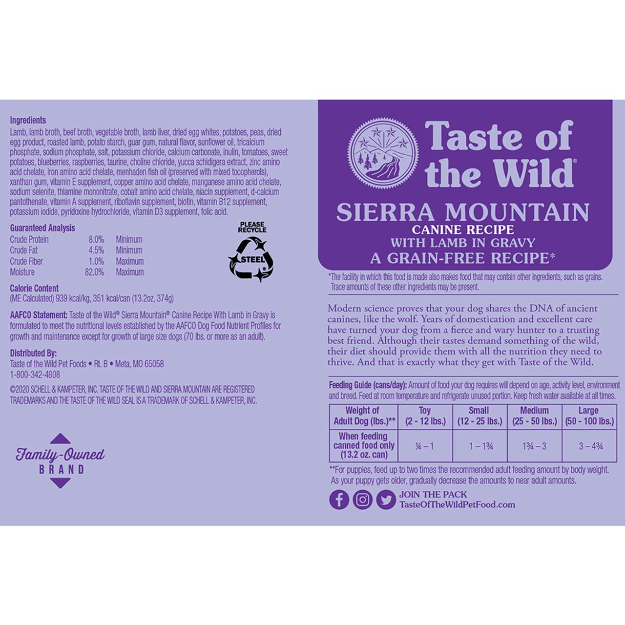 Taste of the Wild Sierra Mountain Canine Formula Canned Dog Food - Back