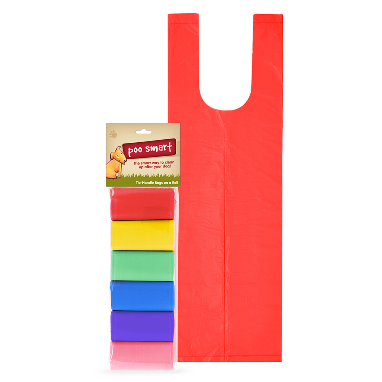 Poo Smart Rainbow Dog Waste Disposal Refill Bags with Tie Handles