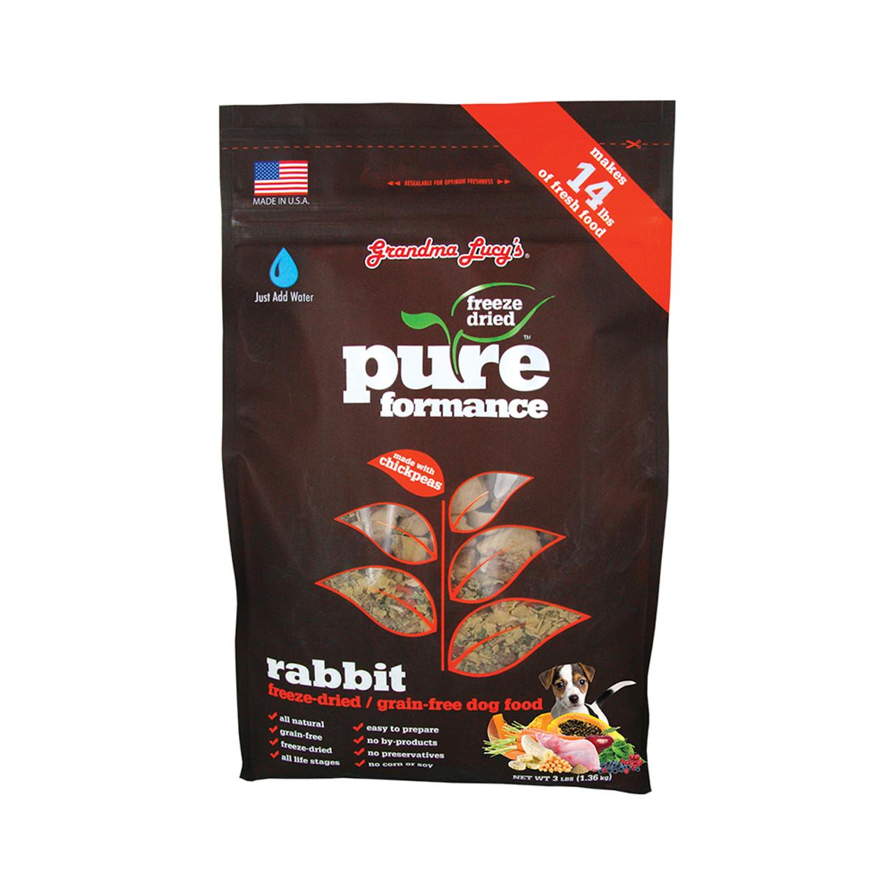 Grandma Lucy's PUREformance Rabbit Grain-Free Freeze-Dried Dog Food