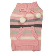 SimplyDog Pink Multi Stripe Bow Pocket Dog Sweater