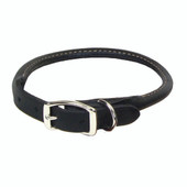 Circle T Oak Tanned Black Leather Round Dog Collar
