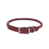 Circle T Oak Tanned Red Leather Round Dog Collar