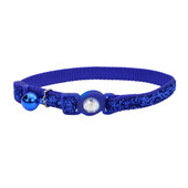 Safe Cat Jeweled Buckle Adjustable Breakaway Blue Cat Collar with Glitter Overlay