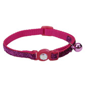 Safe Cat Jeweled Buckle Adjustable Breakaway Pink Cat Collar with Glitter Overlay