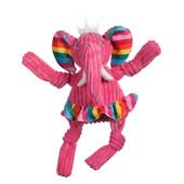 HuggleHounds Rainbow Elephant Plush Dog Toy