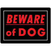 Hillman Red on Black Beware of Dog Sign