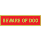 Hillman Red on Brass Beware of Dog Sign