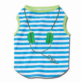 Petrageous Designs Headphones Striped Blue and Lime Graphic Tee for Dogs