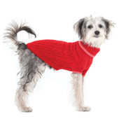 Fashion Pet Classic Red Cabled Dog Sweater