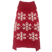 SimplyDog Red Snowflake Turtleneck Dog Sweater