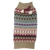 SimplyDog Tan Bow Pom Fair Isle Dog Sweater