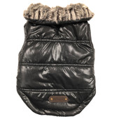 SimplyDog Black Faux Fur Collar Quilt Dog Jacket