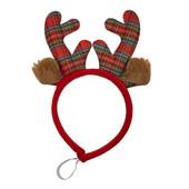 SimplyDog Red Plaid Antler Dog Headpiece