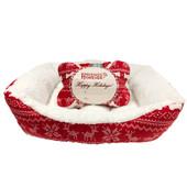JLA Holiday Bed, Bone & Blanket Dog Gift Set