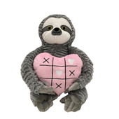 Patchwork Pet Valentine's Grey Sloth Plush Dog Toy