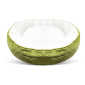Pure Comfort Large Round Quilted Green Velvet Pet Bed