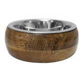 Dineasty Mango Wood Outer Pet Bowl w/Stainless Steel Bowl Insert