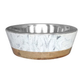 Dineasty Marble Resin Outer Dog Bowl w/Stainless Steel Bowl Insert