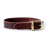 Classy Elegant Style Burgundy Leather Dog Collar