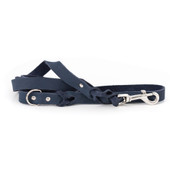 Classy Braided Navy Leather Dog Leash
