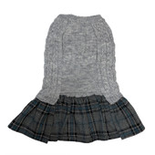 Friends Forever Gray Sweater Dog Dress With Plaid Bow