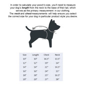 Fetch Your Own Adventure Reversible Orange & Olive Puffer Dog Coat Size Chart