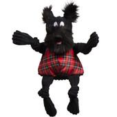 HuggleHounds Christmas Knottie Totally Tartan Scotch Scottie Plush Dog Toy
