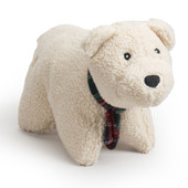 HuggleHounds Holiday Squooshie Soft n' Snugglie Polar Bear Plush Dog Toy