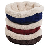 Aspen Pet Self-Warming Corduroy Round Pet Bed, Assorted