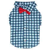 SimplyShe Dark Blue Gingham Bowtie Collar Dog T-Shirt - Front