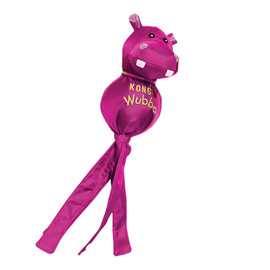 Kong Wubba Ballistic Friends Dog Toy, Assorted - Pink Hippo