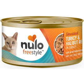 Nulo Freestyle Cat & Kitten Shredded Turkey & Halibut Recipe In Gravy Canned Cat Food