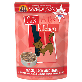 Cats in the Kitchen Mack, Jack and Sam Salmon, Mackerel & Skip Jack Tuna in Gravy Recipe Cat Food Pouch