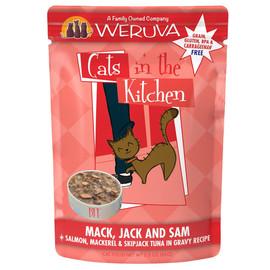 Cats in the Kitchen Mack, Jack and Sam Salmon, Mackerel & Skip Jack Tuna in Gravy Recipe Wet Cat Food - Front