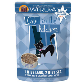 Cats in the Kitchen 1 If By Land, 2 If By Sea Tuna, Beef & Salmon in Gravy Recipe Wet Cat Food - Front