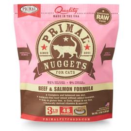 Primal Raw Frozen Feline Nuggets Beef & Salmon Formula Cat Food