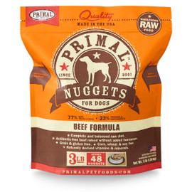 Primal Raw Frozen Canine Nuggets Beef Formula Dog Food