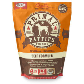 Primal Raw Frozen Canine Patties Beef Formula Dog Food