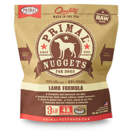 Primal Raw Frozen Canine Nuggets Lamb Formula Dog Food