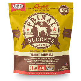 Primal Raw Frozen Canine Nuggets Rabbit Formula Dog Food