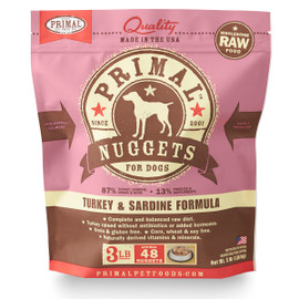 Primal Raw Frozen Canine Nuggets Turkey & Sardine Formula Dog Food