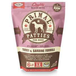 Primal Raw Frozen Canine Patties Turkey & Sardine Formula Dog Food