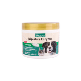 NaturVet Digestive Enzymes Powder with Probiotics for Dogs & Cats