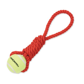 Mammoth Flossy Chews Premium Twister Pull Tugs with Tennis Ball Dog Chew Toys