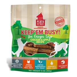 Plato Keep'Em Busy Chicken & Apple Recipe Dog Treats for Larger Toys
